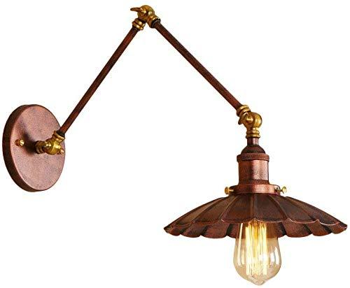 Roestkleur lange arm decoratie voor restaurant wandlampen instelbare telescoop plooien ijzer kunst lamp E27 Edison gloeilamp wandlampen wandlamp (maat: A)