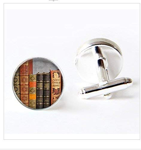 Foto-Glas-Cabochon, Vintage-Bücher-Manschettenknöpfe, Buch-Liebhaber, Bücher-Schmuck, Bibliothekarisches Geschenk