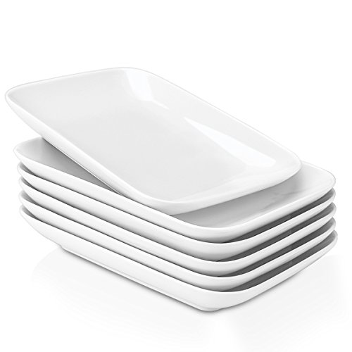 Delling 8 in Ultralight Rectangular Dessert/Salad Plates, Fillet Small Serving Dishes for Fruit, Salad, Appetizer and More - Set of 6, White…