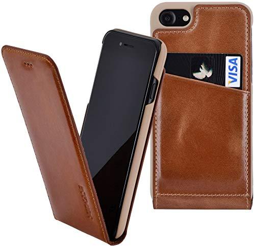 Suncase originele flip-case compatibel met iPhone 8 tasje lederen tas beschermhoes hoes (ultra-slim), cognac