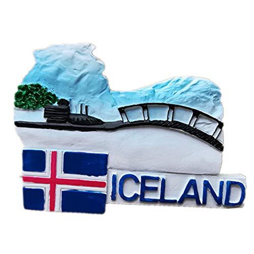 Imán de nevera 3D de Islandia, regalo de recuerdo de viaje, decoración para el hogar y la cocina, imán para nevera de Islandia