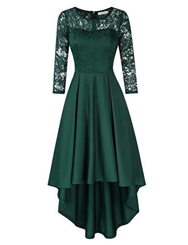 KOJOOIN Damen Abendkleider/Cocktailkleid/Brautjungfernkleider für Hochzeit Unregelmässiges Kurzespitzenkleidangarm Dunkelgrün,M