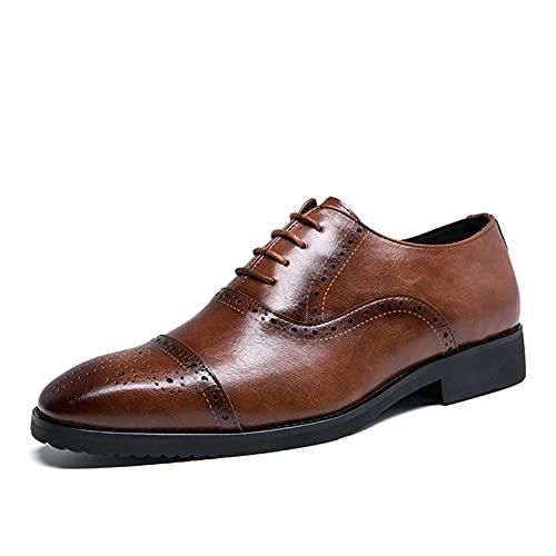 Zapatos Oxford para Hombre Zapatos de Cuero con Cordones de Corte bajo y Brogue Vintage Zapatos Formales de Suela Suave Antideslizante Transpirables para Boda