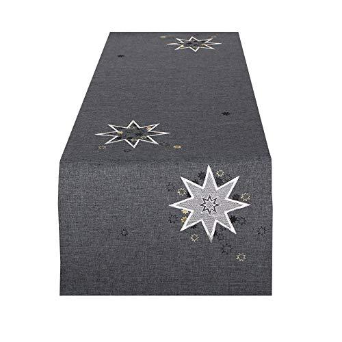 Tischläufer WEIHNACHTSSTERNE grau, 40x140 cm, Moderne Tischdecke zu Weihnachten