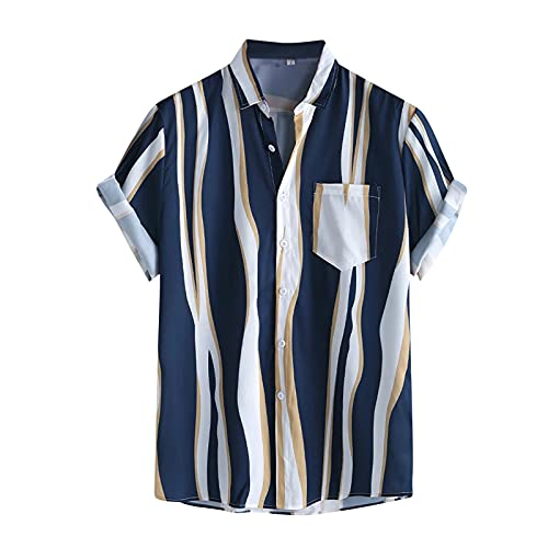 BIBOKAOKE Herren Hemden Kurzarm Hawaii Mehrfarbig Vertikale Streifen Bedrucktes Hemd Leinenoptik Freizeithemden Loose Casual Sommer ArbeitsHemd Urlaub Atmungsaktivität Strandhemd für Männer