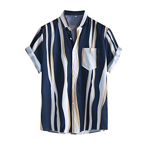 Camisa para hombre de manga corta, informal, con estampado de acuarela, de manga corta, para verano, ajustada, con botones impresos, para verano, informal, de talla corta G_azul. XXL