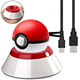 USB Charger Cable with Stand for Nintendo Switch Poke Ball Plus Controller, Charger Station Holder for Pokémon Lets Go Pikachu Eevee Game Controller with Type C Charging Cable 3.6ft– Red White