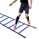 (12-Rung Blue) - Ohuhu Agility Ladder, Speed Training Exercise Ladders for Soccer Football with Carry Bag, Multi Choices: 12 Rung (Yellow, Blue, Yellow with 4 Stakes), 21 Rung