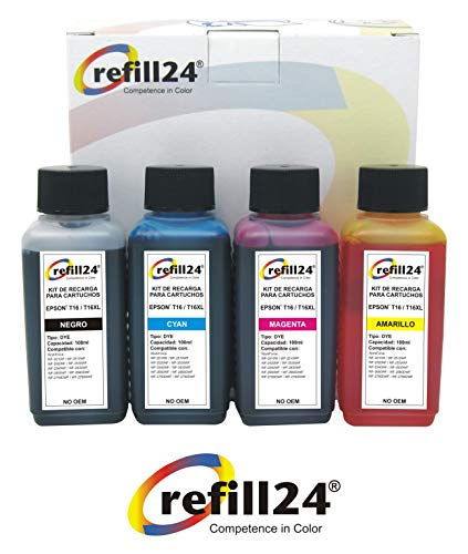 T16 Kit de Recarga Compatible para Cartuchos de Tinta Epson 1631 1632 1633 1634 + 400 ml para impresoras Workforce WF-2010,2500,2510,2520 NF,2530 WF,2540,2630,2650 DWF, 2660,2700 Series, 2750, 2760,