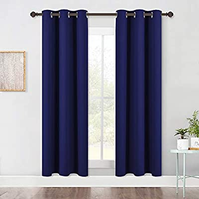 NICETOWN Living Room Blackout Draperies Curtains, Window Treatment Energy Saving Thermal Insulated Solid Grommet Blackout Draperies/Drapes (1 Pair, 42 by 72-Inch, Navy Blue)