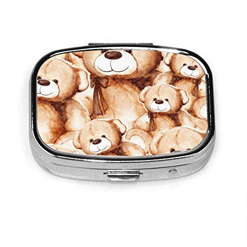 Cartoon Cute Bear Fashion Square Pill Box Vitamin Medicine Tablet Holder Wallet Organizer Case