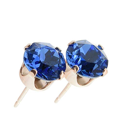 pewterhooter women's Rose gold stud earrings made with Sapphire Blue crystal from Swarovski. Gift box. Made in the UK. Hypoallergenic & Nickle Free for Sensitive Ears.