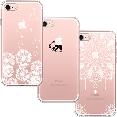 [3 Pack] iPhone 7 Case, iPhone 8 Case, Blossom01 Ultra Thin Soft Gel TPU Silicone Case Cover with Cute Cartoon for Apple iPhone 7 / 8 - Dandelion & Panda & Mandala