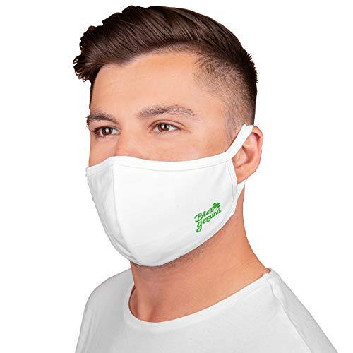 5 Stück Gesichtsbedeckung Mundschutz Prävention gegen Spritz-/ Tröpfchenkontakt im Mund und Nasenbereich Baumwolle atmungsaktiv wiederverwendbar waschbar (Weiss mit Logo)
