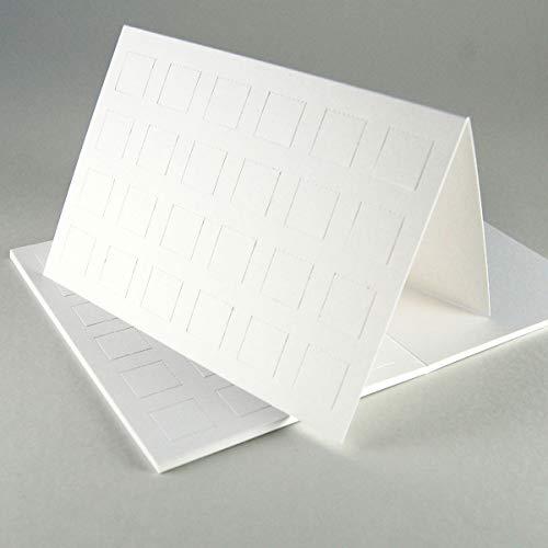 20 Blankokarten mit vorgestanzten Türen zum Basteln von Adventskalenderpostkarten, 16,5 x 11,5 cm, weißer stabiler Karton 246 g/qm