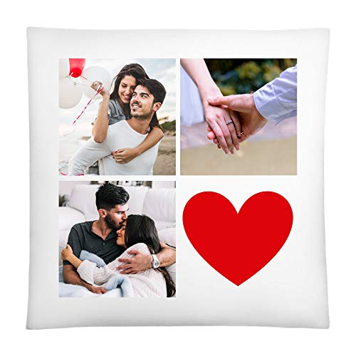 CVLR Fotokissen Mit 3 Fotos 40x40cm Und Wunschtext Baumwollhülle inkl. Füllung Personalisiertes Kissen Mit Fotos Geschenk