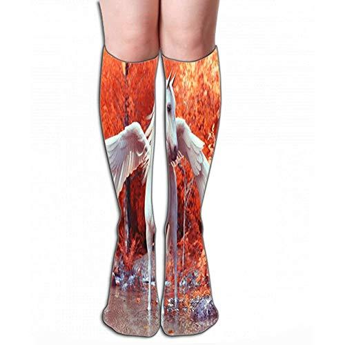 NGMADOIAN Dünne hohe Socken Hohe abgestufte Kompression Lange Socken für Männer, Frauen und Mädchen 50 cm (19,7 ') mythischer Pegasus, der Enchante posiert