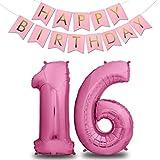 envami Globos de Cumpleãnos 16 Rosas I 101 CM Globo 16 Años + Happy Birthday Guirnalda I Globo Numero 16 I Decoracion 16 Cumpleaños Niñas I Globos Numeros Gigantes para Fiestas I Vuelan con Helio