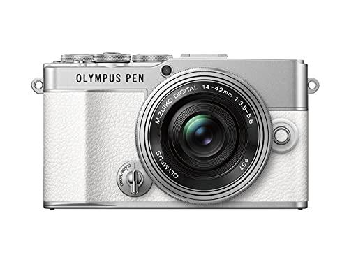 Kit de cámara Olympus Pen E-P7 Blanca, Sensor de 20MP, LCD de Alta definición abatible, 4K, Wi-Fi, Control de Perfil Monocromo y del Color, Incluye M.Zuiko Digital ED 14-42mm EZ Plata