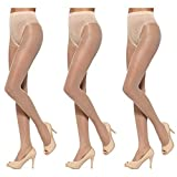 HUE Toeless Sheer with Lace Control Top 3 Pair Pack Calcetines, canela, L para Mujer