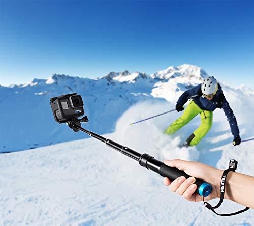 Coolwill - Bastone per selfie impermeabile per GoPro e Action Cam, impugnatura galleggiante in alluminio, ideale per surf, sci, immersioni, treppiede per GoPro Hero 6 5 4 Session e altre action cam