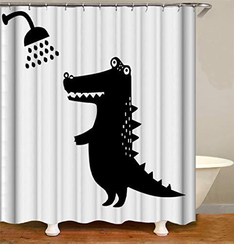Mucert Schwarz Weiß Tier Krokodil Duschvorhang 3D Digital Gedruckt Wasserdicht Verdickt Kein Geruch Kreativ Verblasst Keine Verformung Badezimmer -W200Xh240