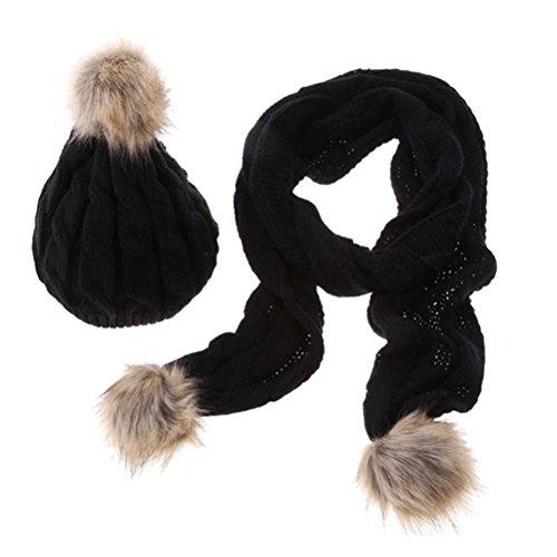 ZFstores Vrouwen gebreide muts/sjaal/handschoenen Set meisjes mode warme zachte kabel gebreide Winter koud weer Gift Set
