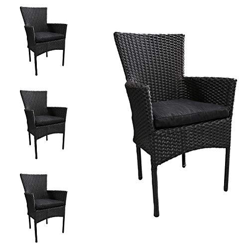 Mojawo 4 stuks mooie rotan stoel stapelbaar rieten tuinstoel zwart stapelstoel met stoelkussen