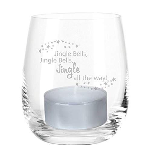 4you Design Leonardo Windlicht Jingle Bells Windlicht mit Spruch, Teelichtleuchter, Glaswindlicht, Geschenkidee, (Glas)