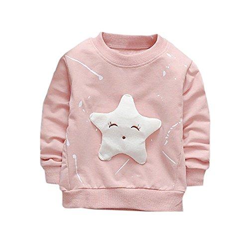 LEXUPE Junge Mädchen Baby Outfits Kleidung InfantStar Gedruckte Baumwolle Lange Ärmel T-Shirt(Rosa,80)