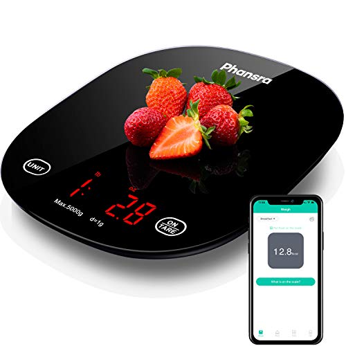 Phansra Kitchen Scale, Bluetooth Smart Food Scale with Nutritional Calculator for Keto, Macro and Calorie, Digital Grams and Oz for Weight Loss, Cooking and Baking with Smartphone APP, Black