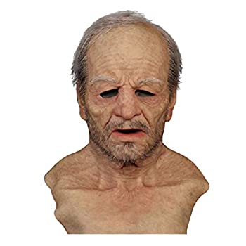Old Man Mask Realistic Latex Human Decorative Halloween Masks for Adults  Beige
