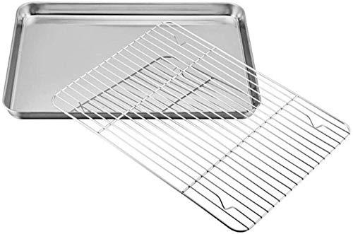 Cakunmik Mini Bandeja de Horno, Bandeja para Hornear para Hornear Chapa de Acero Inoxidable con Estante de refrigeración |,26 * 20 * 2.5cm