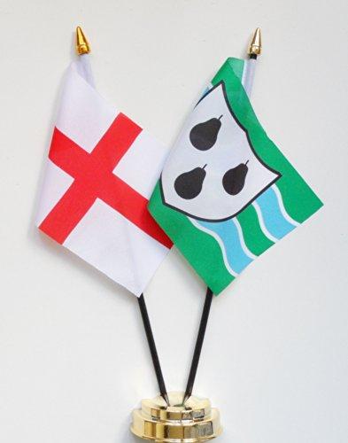 1000 Flags comté de Worcestershire et Angleterre l'amitié Drapeau de table écran 25 cm (25,4 cm)