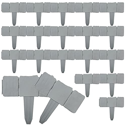 Yaegoo Garden Border Edging, 20 Pcs Stones Effect Fence Decorative Flower Bed Edging for Garden, Lawn and Landscape Edging, Interlocking Outdoor Lawn Stakes (Gray)