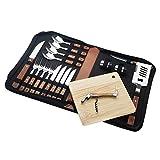 LAGUIOLE - Set Complet pour Pique-Nique - 18 pièces - Couteaux - Fourchettes - Tire-Bouchon - Manches en Bois de Pin - Acier Inoxydable - Marron