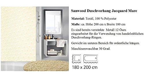 Sanwood Jacquard Mare Textil Duschvorhang 180 x 200 cm. Markenprodukt