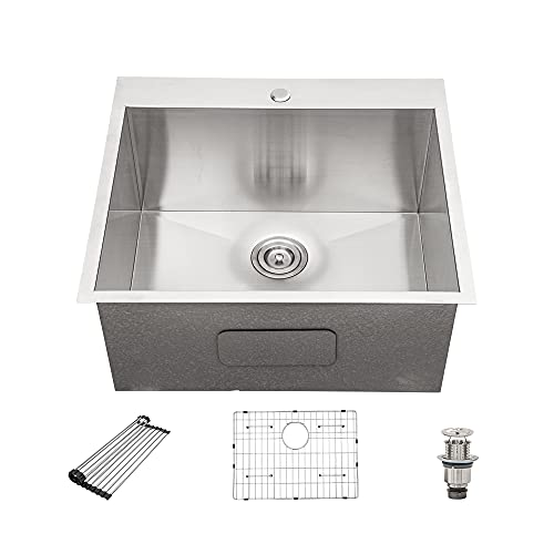 """Utility Sink for Laundry Room 25"""" x 22"""" x 12"""" -Drop in 16 Gauge Stainless Steel Single Bowl Utility Sink-Beslend Laundry Sink Topmount rectangle"""