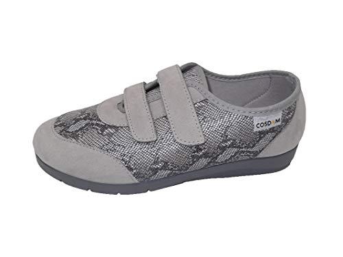 Zapato/Mujer/Cosdam/Plantilla Extraíble/Apto Plantilla ortopédica/Cuña 2 cm/Empeine Téxtil/Suela Goma/Color Gris Perla/Talla 36