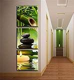 Cuadros en Lienzos Abstracto Modernos Impresión de Imagen Artística Arte de Decorativos Mural,para Hogar Salón Dormitorio Baño Cocina Pasillo Decoración de Pared - 3 Piezas VELAS,PIEDRAS,BAMBÚ