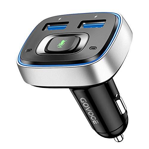 Cargador y Adaptador Bluetooth 5.0 para Coche con Manos Libres, Siri y Google Voice Assistant para Cualquier aplicación. Reconocimiento de Sonido preciso, y características del transmisor FM