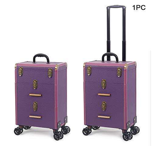 MQSS Trolley à Maquillage,Trolley de Maquillage pour Coiffeurs,Coffre à Maquillage Professionnel,Trolley à Bijoux Outil,avec 2/4 Roulettes3 Layer Purple