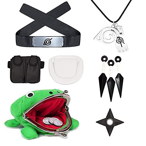 Naruto Cosplay - Set de anime Naruto rana portamonedas, diadema para collar, paquete de Naruto Kunai