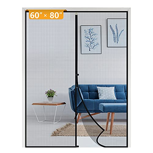 Yotache Door Net Screen with Magnet Fits Door Size 60 x 80, French Door Mosquito Net for Doors Size Up to 60'W x 80'H Heavy Duty Fiberglass Mesh Pets and Kids Friendly