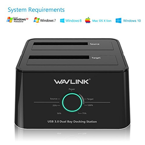 WAVLINKHDDスタンドUSB3.0接続2.5型/3.5型SATAHDD/SSD対応パソコンなしでHDDのまるごとコピー機能付き16TB対応オフラインクローンPSE認定AC12V4A電源アダプター付