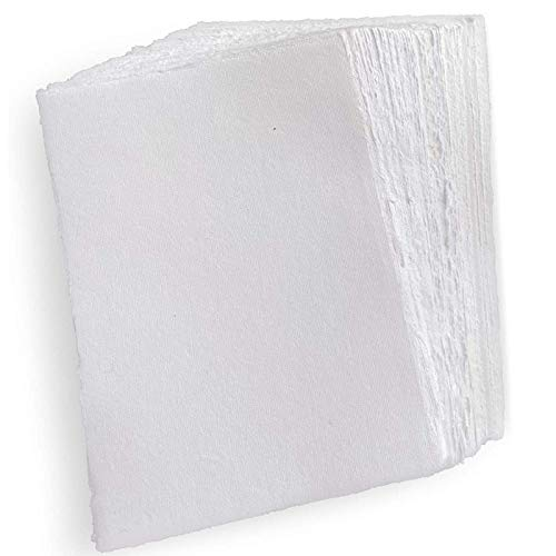 E-Tailor Handmade Cotton Paper Deckle Edge Loose Leaf Sheets 130 GSM Ivory White ( HPDW-101-5x7-20-Sheets )