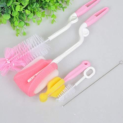 CVBN Juego de Cepillo para biberones de 5 Productos para bebés Cepillo para biberón de Esponja de 360 ° con Cepillo para pezones, Rosa
