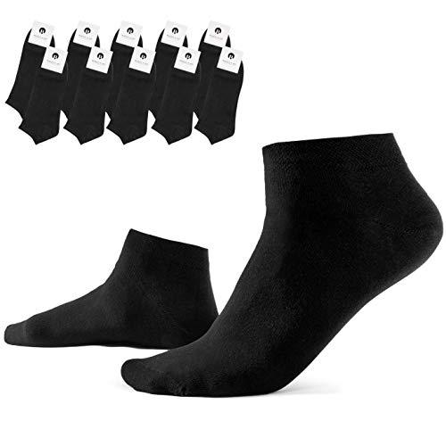 Burnell & Son 10 Paar Sneaker Socken für Damen & Herren, atmungsaktiv & langlebig in Schwarz, Größe 43-46