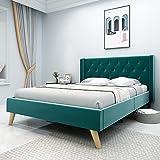 Yegee Velvet Upholstered Bed Frame with Wingback Full Size Platform Bed Wood Slat Support No Box Spring Needed Tufted Headboard (Dark Green, Full)