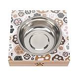Tazón para mascotas para gatos y perros pequeños Color Paw Print Elevated Dog Cat Food and Water Bowl Stand Alimentador de acero inoxidable